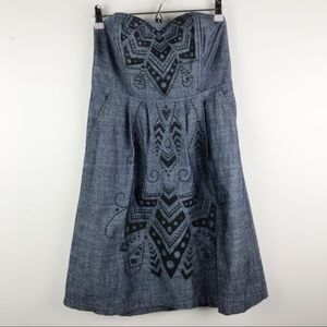 Fossil Chambray Embroidered Strapless Dress Sz M